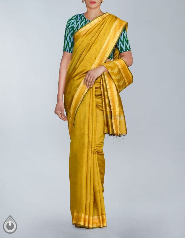 Online Shopping for Olive Green Soft Art Linen Plain Saree with weaves from Chhattisgarh at Unnatisilks.com, India