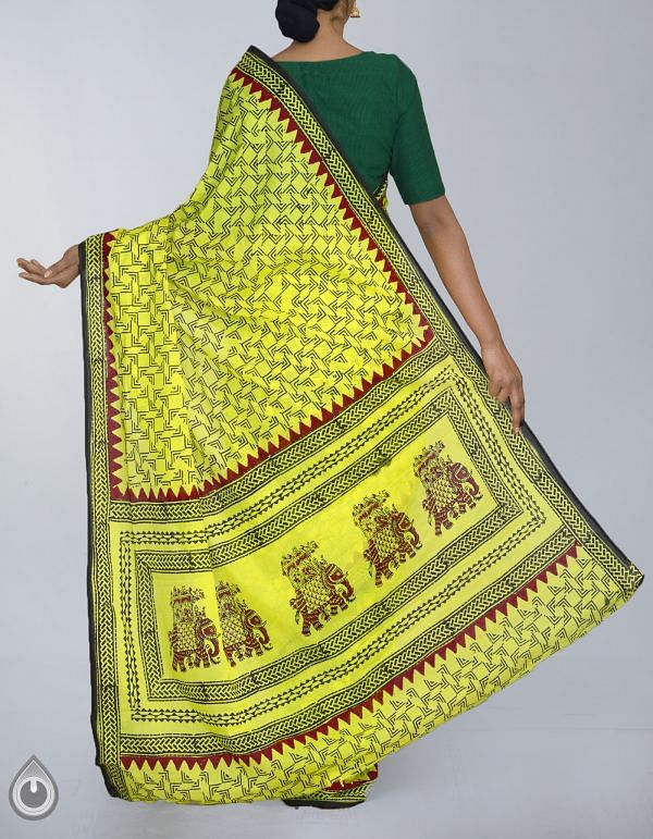 UNM23942-Yellow Pure Rajasthani Malmal Cotton Saree