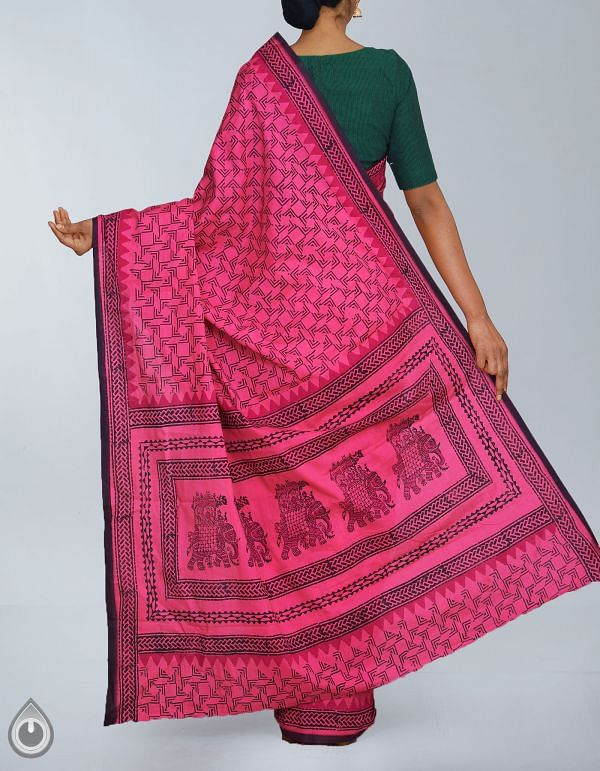 UNM23944-Pink Pure Rajasthani Malmal Cotton Saree