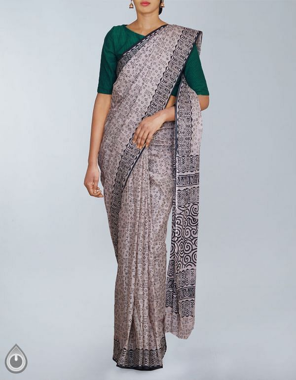 UNM23946-Grey Pure Rajasthani Malmal Cotton Saree