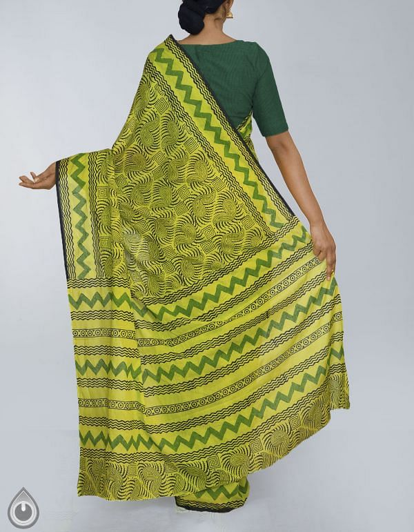 Green Hand Block Printed Pure Rajasthani Malmal Cotton Saree-UNM23953