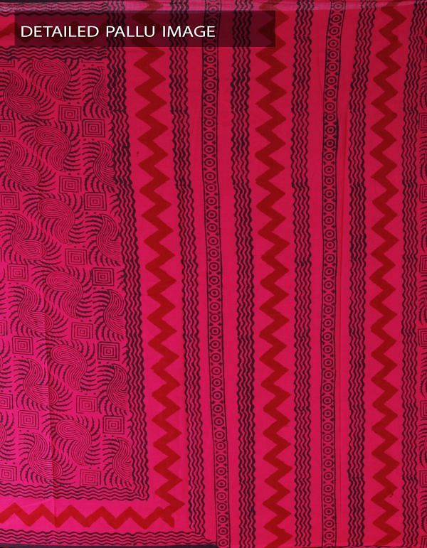 Online Shopping for Pink Pure Rajasthani Malmal Cotton Saree with Hand Block Prints from Rajasthan at Unnatisilks.com, India