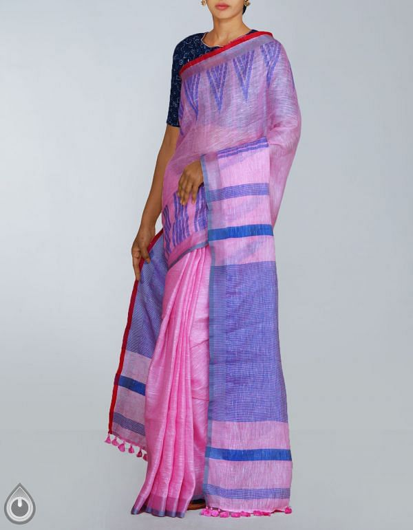 UNM23959-Pink Pure Handloom Linen Plain Saree