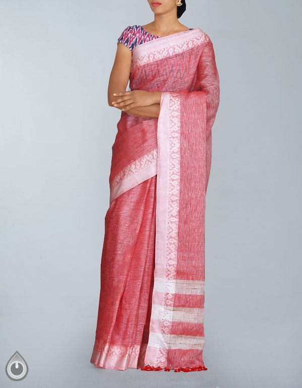 Red Pure Handloom Linen Plain Saree-UNMP23974