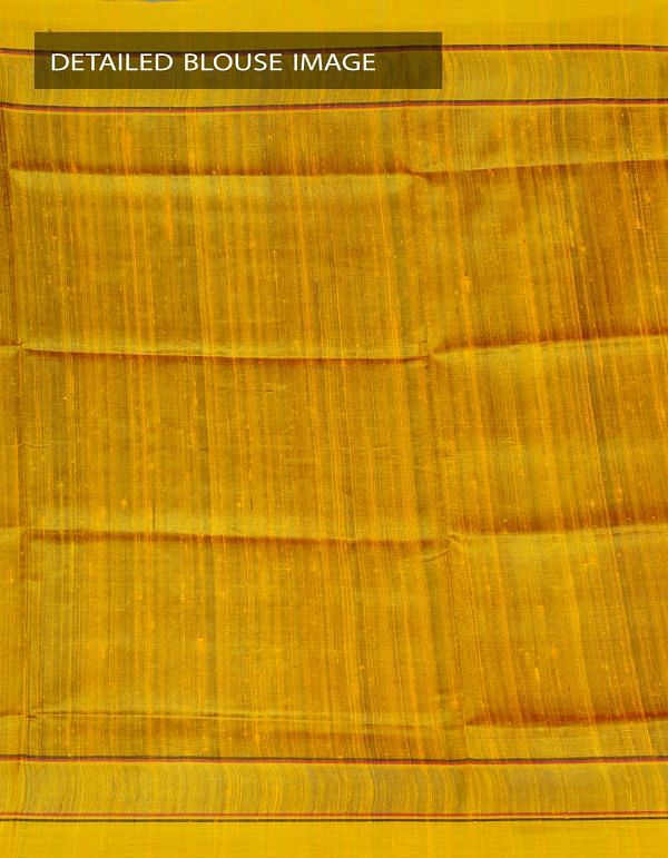 UNM23977-Pink-Yellow Pure Handloom Muga Tussar Silk Plain Saree