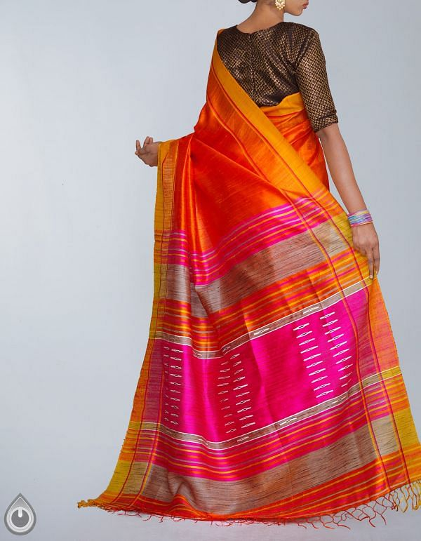 UNM23989-Orange-Pink Pure Handloom Muga Tussar Silk Plain Saree