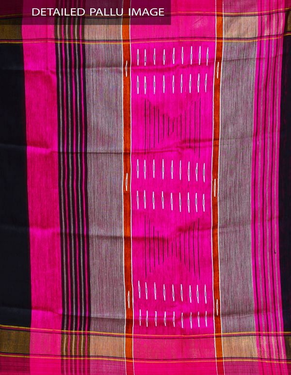 Online Shopping for Black-Pink Pure Handloom Muga Tussar Silk Plain Saree with Ghicha Weaving from Jharkhand at Unnatisilks.com, India