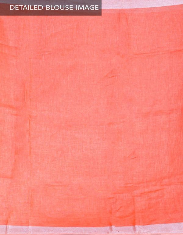 UNM23998-Orange Pure Handloom Linen Plain Saree