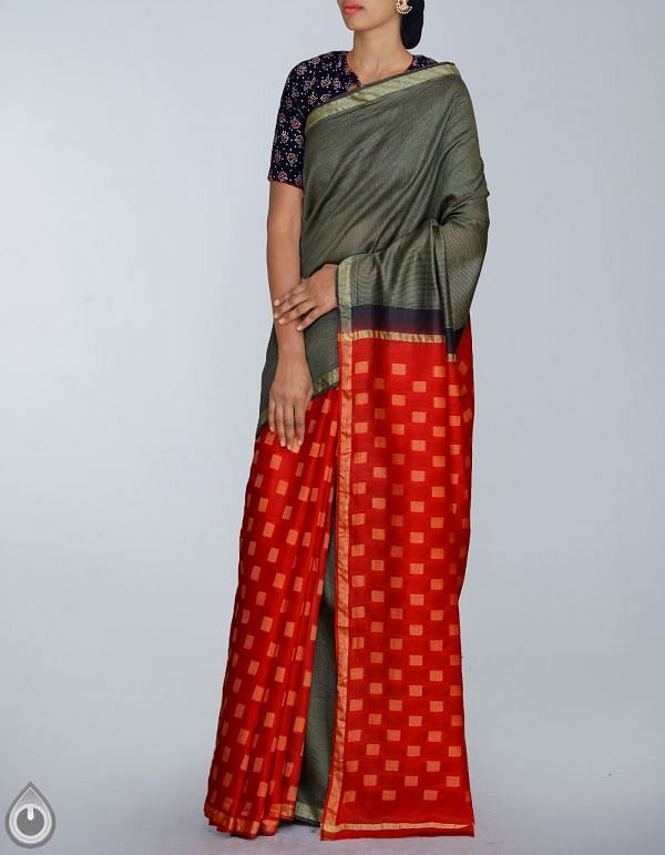 UNM24032-Black-Red Soft Linen Saree