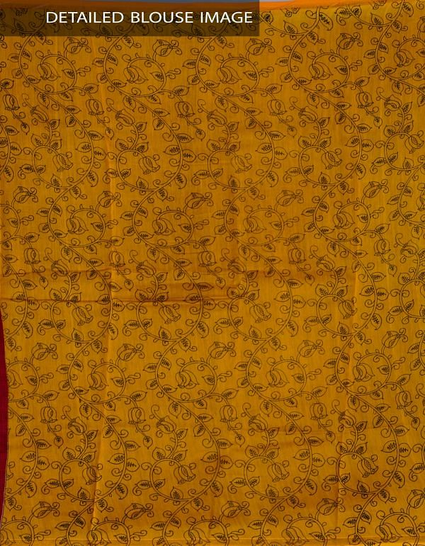 UNM24039-Red Kalamkari Cotton Silk Saree