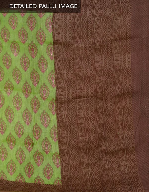 UNM24082-Green Pure Handloom Linen Printed Saree