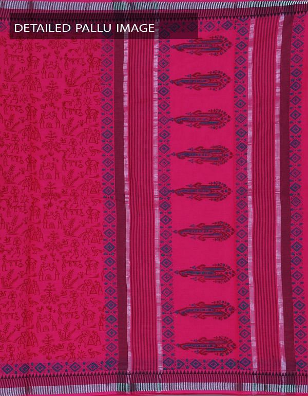 Online Shopping for Pink Pure Mangalagiri Cotton Hand Block Printed Saree with Hand block prints from Andhra Pradesh at Unnatisilks.com, India