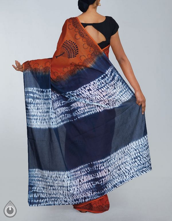 UNM24129-Orange-Blue Shibori Pure Rajasthani Malmal Cotton Saree