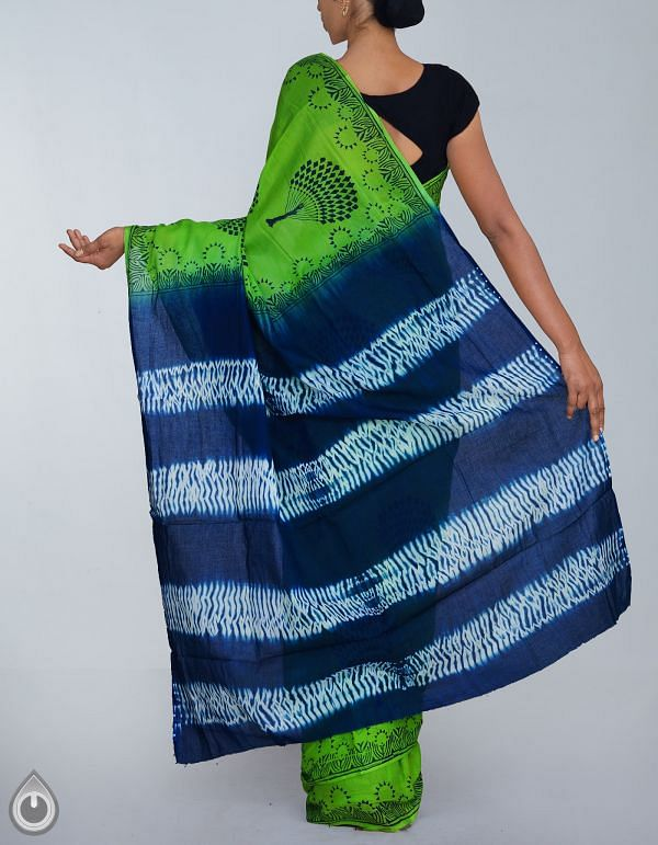 Green-Blue Shibori Pure Rajasthani Malmal Cotton Saree-UNM24130