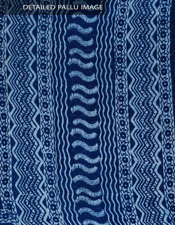UNM24145-Indigo Pure Rajasthani Malmal Cotton Saree