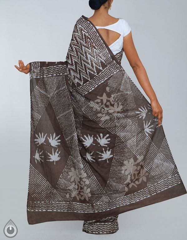 UNM24152-Grey Pure Rajasthani Malmal Cotton Saree