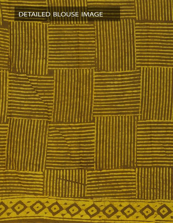 Online Shopping for Brown-Yellow Pure Rajasthani Malmal Cotton Saree with Dabu Prints from Rajasthan at Unnatisilks.com, India