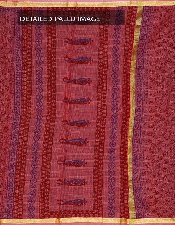 Online Shopping for Orange Kota Cotton Hand Block Printed Saree with Hand block prints from Rajasthan at Unnatisilks.com, India