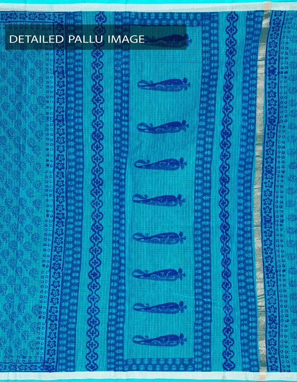 Online Shopping for Blue Kota Cotton Hand Block Printed Saree with Hand block prints from Rajasthan at Unnatisilks.com, India