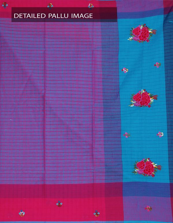 Online Shopping for Blue-Pink Pure Mangalagiri Cotton Saree with Embroidery work from Andhra Pradesh at Unnatisilks.com, India