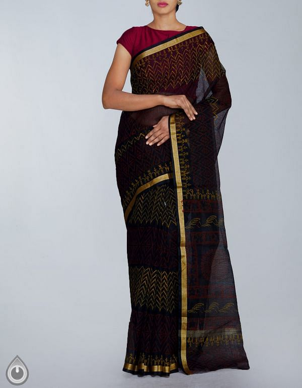 Online Shopping for Black Kota Cotton Saree with Hand Block Printed from Rajasthan at Unnatisilks.com, India