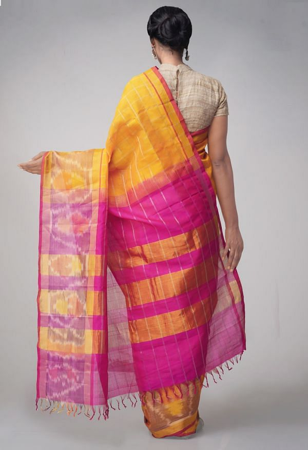 Online Shopping for Orange Pure Handloom Pochampally Silk Cotton Checks Saree with Tassels with Batik Prints from Rajasthan at Unnatisilks.comIndia