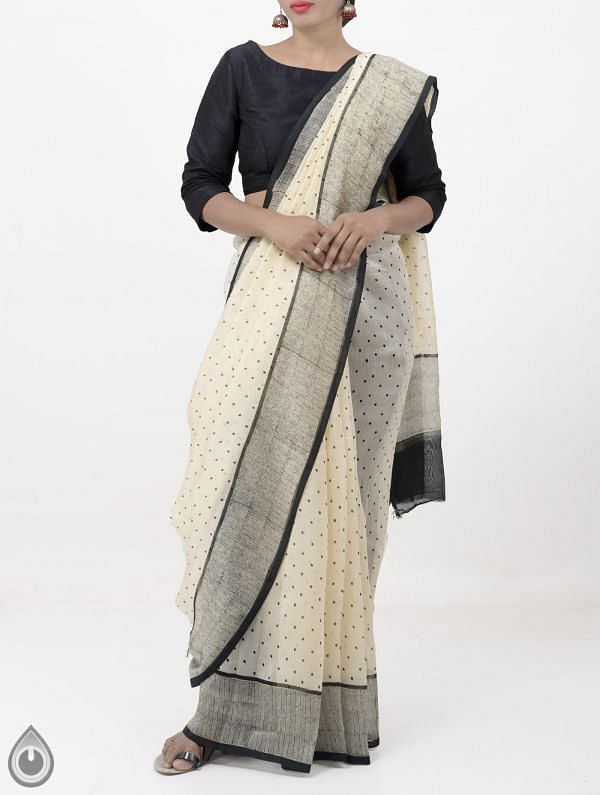 Online Shopping for Beige Pure Chanderi Sico Saree with Hand Block Prints from Madhya Pradesh at Unnatisilks.com India