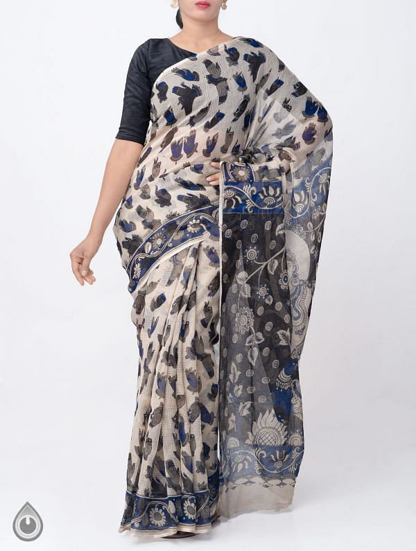 Online Shopping for Beige Pure Kalamkari Kota Cotton Saree with Kalamkari prints from Andhra Pradesh at Unnatisilks.com India