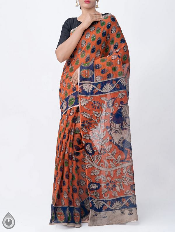 Online Shopping for Orange Pure Kalamkari Kota Cotton Saree with Kalamkari prints from Andhra Pradesh at Unnatisilks.com India