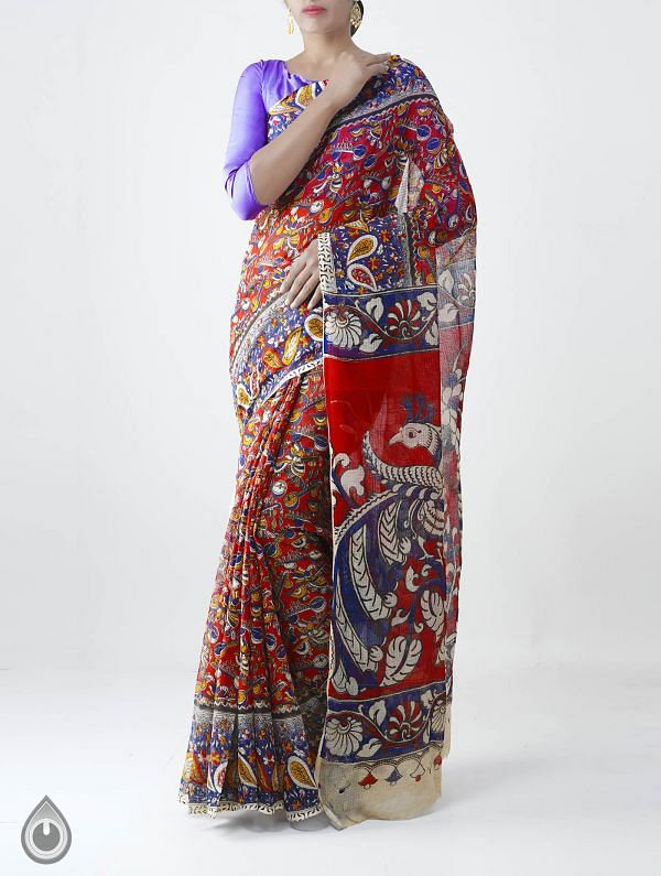 Red Pure Kalamkari Kota Cotton Saree-UNM28147