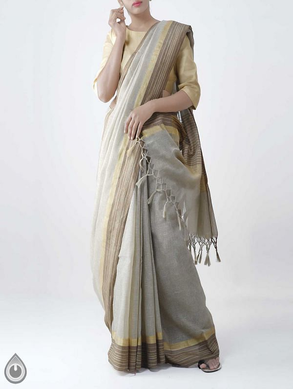 Brown Art Andhra Jute Saree With Tassel -UNM28150