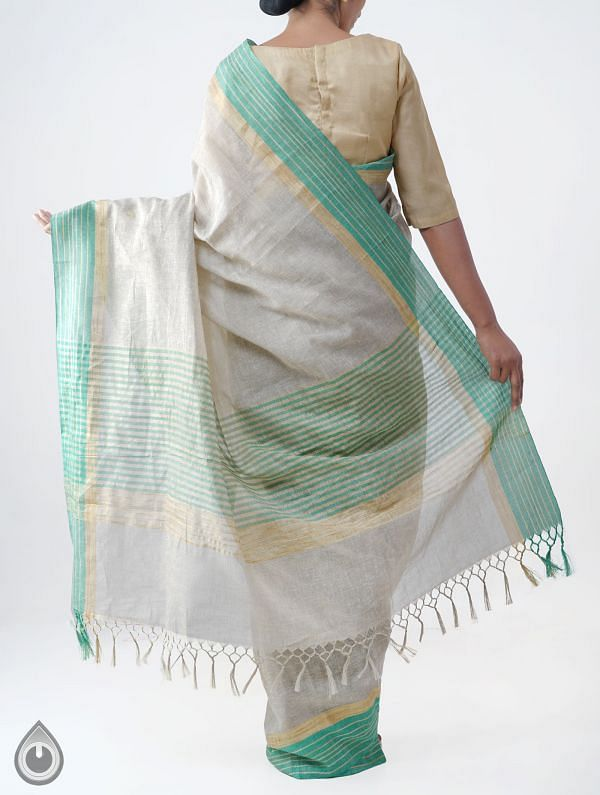 Brown Art Andhra Jute Saree With Tassel-UNM28152