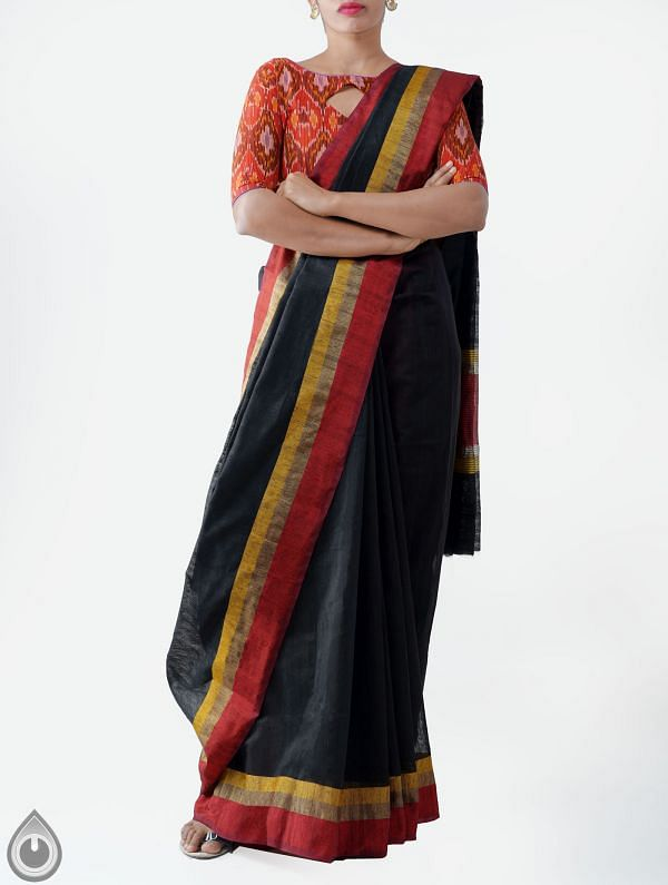 Online Shopping for Black Art Andhra Jute Saree with Weaving from Andhra Pradesh at Unnatisilks.com India