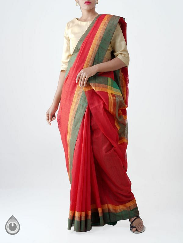 Online Shopping for Red Art Andhra Jute Saree with Weaving from Andhra Pradesh at Unnatisilks.com India