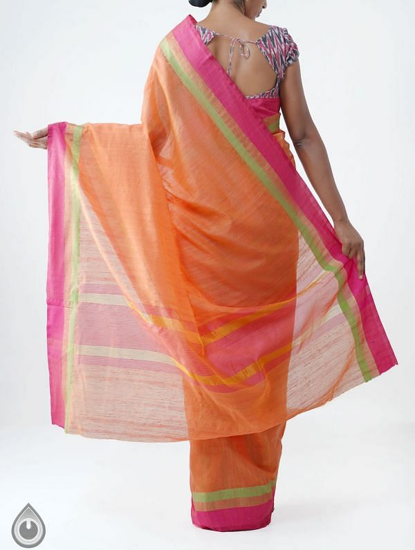 Orange Art Andhra Jute Saree -UNM28161