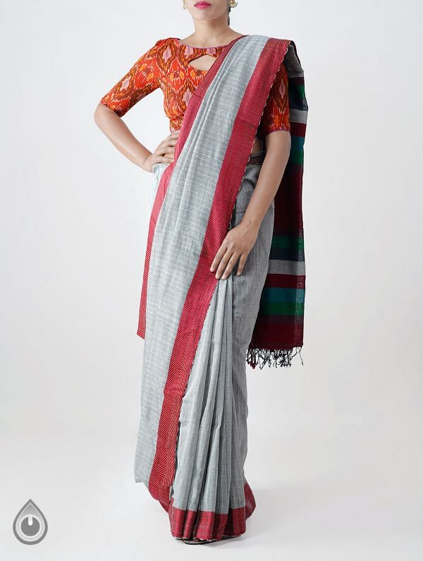Grey Mercerized Bengal Cotton Saree with Tassels -UNM28163