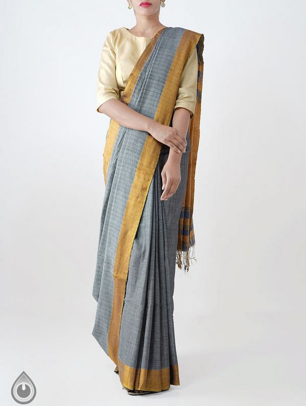 Online Shopping for Grey Mercerized Bengal Cotton Saree with Weaving from West Bengal at Unnatisilks.com India