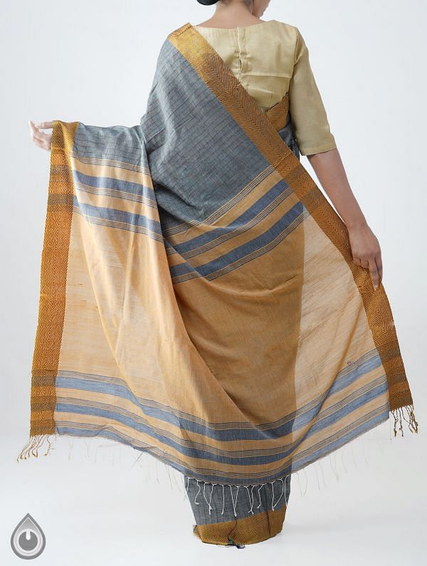 Grey Mercerized Bengal Cotton Saree with Tassels -UNM28164