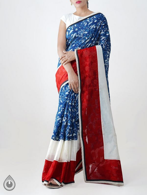 Online Shopping for Blue Pure Dabu Printed Rajasthani Sico Saree with Dabu Prints from Rajasthan at Unnatisilks.com India