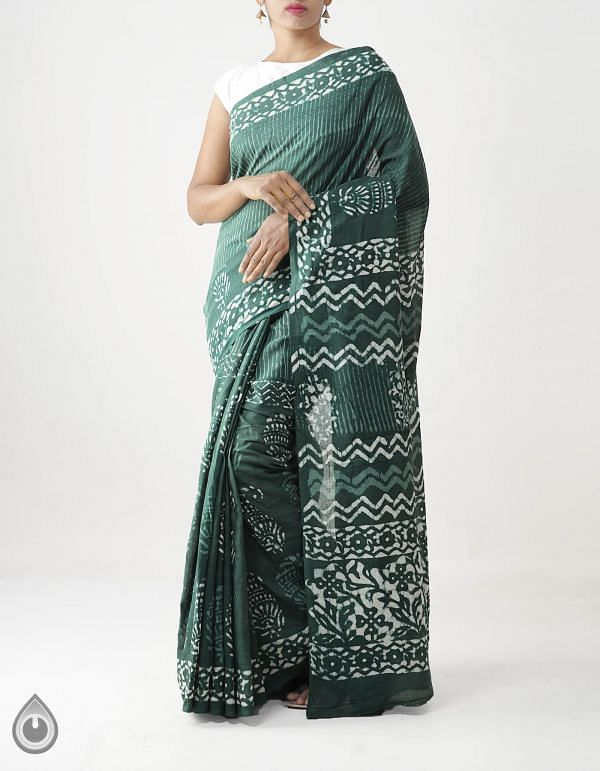Online Shopping for Green Pure Dabu Printed Rajasthani Cotton Saree with Dabu prints from Rajasthan at Unnatisilks.com India