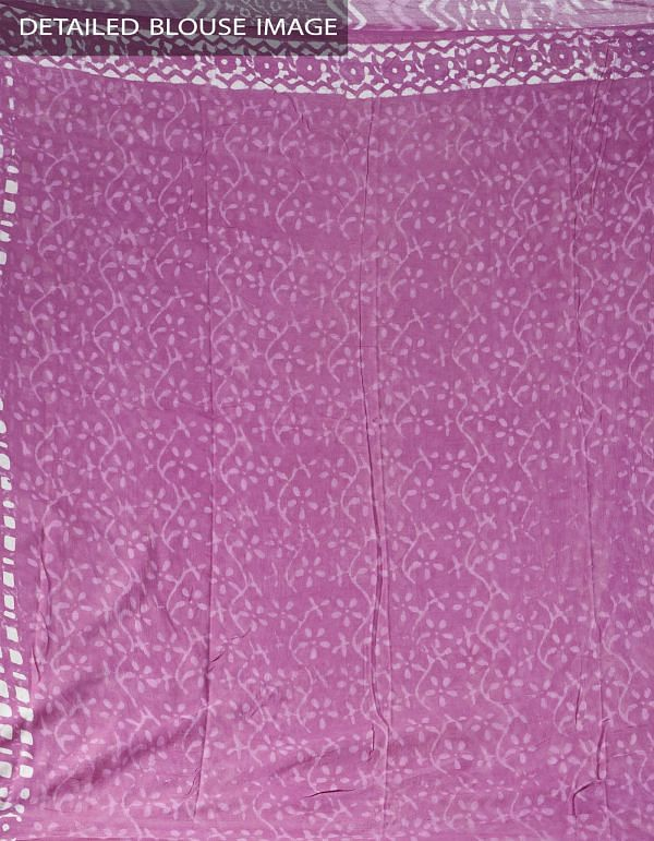 Pink Pure Dabu Printed Rajasthani Cotton Saree-UNMP28179