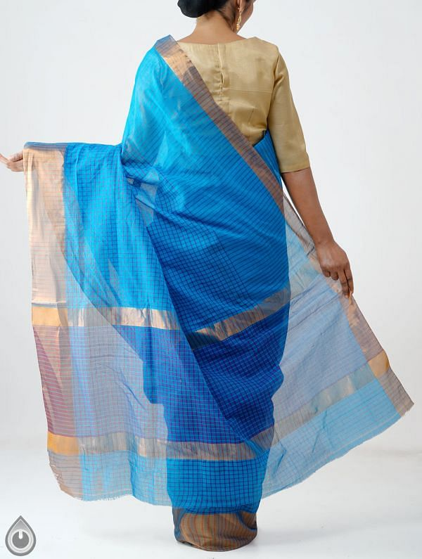 Blue Pure Chettinadu Cotton Checks Saree-UNM28188