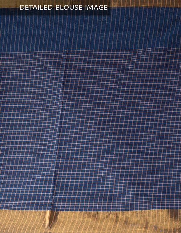 Blue Pure Chettinadu Cotton Checks Saree-UNM28190