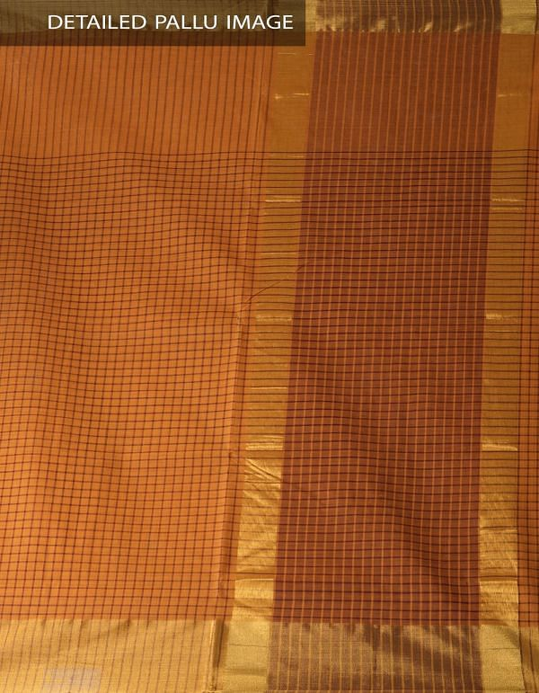 Online Shopping for Orange Pure Chettinadu Cotton Checks Saree with Weaving from Tamilnadu at Unnatisilks.com India