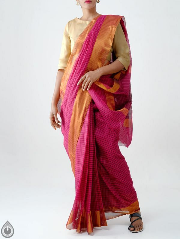 Online Shopping for Pink Pure Chettinadu Cotton Checks Saree with Weaving from Tamilnadu at Unnatisilks.com India