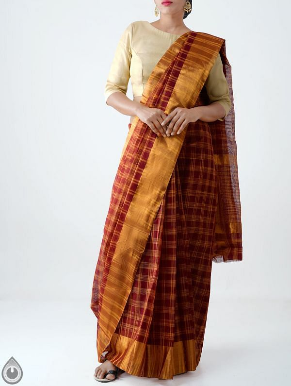 Online Shopping for Maroon Pure Chettinadu Cotton Checks Saree with Weaving from Tamilnadu at Unnatisilks.com India