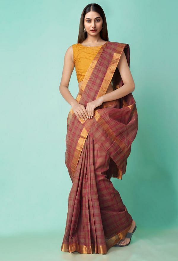 Online Shopping for Brown Pure Chettinadu Cotton Checks Saree with Weaving from Tamilnadu at Unnatisilks.com India