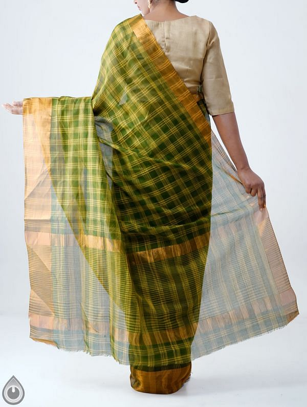 Green Pure Chettinadu Cotton Checks Saree-UNM28201