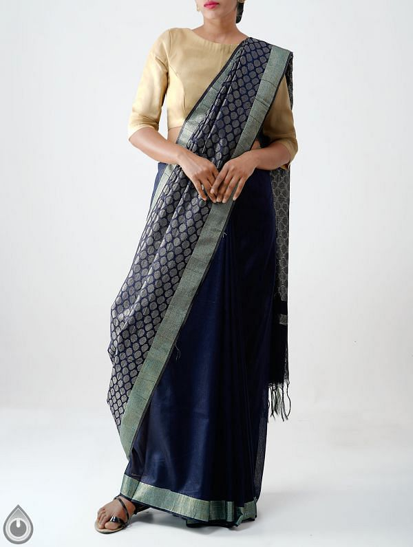 Online Shopping for Black Soft Linen Saree With Tassels with Weaving from Chattisgarh at Unnatisilks.com India