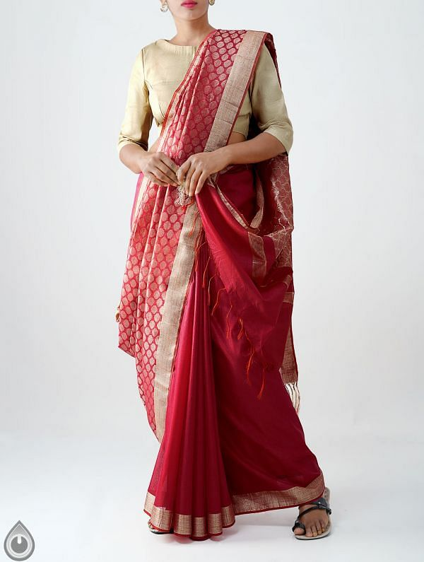 Online Shopping for Maroon Soft Linen Saree With Tassels with Weaving from Chattisgarh at Unnatisilks.com India